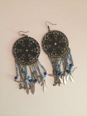 Traumfänger Ohrringe blau