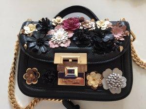 Traumhaft schöne Handtasche mit bunten Lederblüten