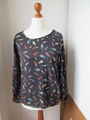 Traumhaft schöne schwarze Bluse mit bunten Federn