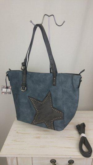 Traumhaft schöne Tasche in blau mit Stern