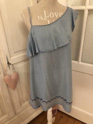 Traumhaft schönes Jeanskleid mit Stickereien Off Shoulder neu