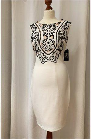 Robe crayon blanc cassé-noir fibre synthétique