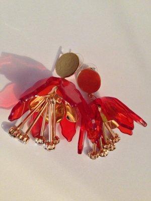 Traumhafte Große Vintage Statement Ohrringe Orange Blüten Einzigartig Highlight!!