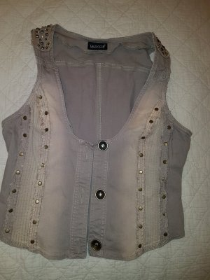 Laura Scott Denim Vest grey brown-beige cotton