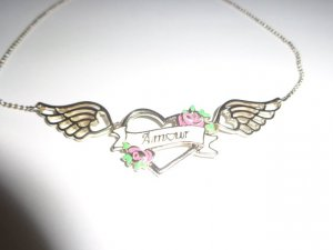 traumhafte Kette Amour Herz Flügel Fashion Blogger Heart Love Wings