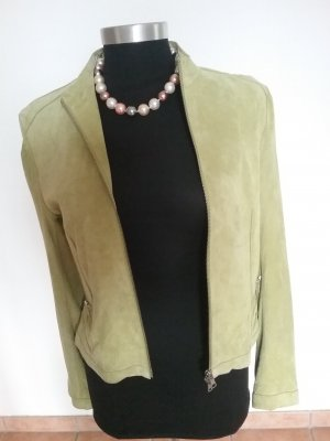Milestone Leather Jacket sage green-lime-green suede