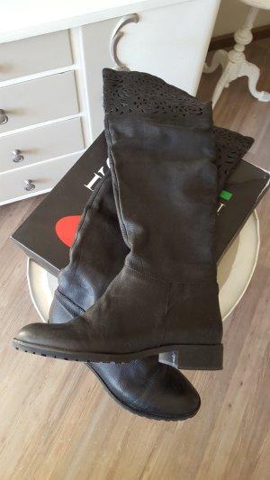 Biondini Kniehoge laarzen zwart-zwart bruin