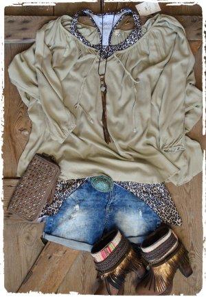 Vestido Hippie beige tejido mezclado