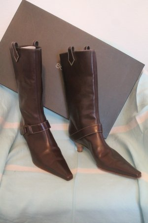 Sergio Rossi High Boots dark brown leather