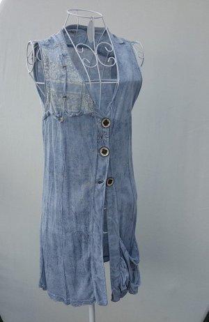Elisa Cavaletti Long Blouse slate-gray-pale blue mixture fibre