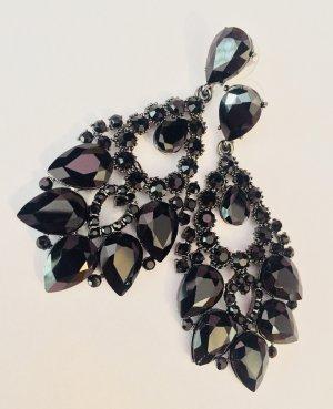 Traumhafte Vintage Luxus Statement Ohrringe Black Funkeln Highlight!! Neu