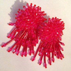 Traumhafte Vintage Luxus Statement Ohrringe Pink Perlen Funkeln!! Neu