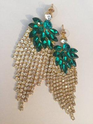 Traumhafte Vintage Luxus Statement Ohrringe Smaragd Grün Funkeln Extrem Highlight!! Neu