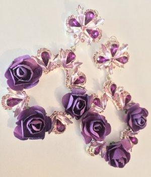 """Traumhafte Vintage Luxus Statement Ohrringe """"Violette Rosen"""" Funkeln Extrem Handmade Highlight!! NEU"""
