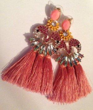 Traumhafte Vintage Statement Quasten Ohrringe Flamingos Highlight Funkeln Extrem!! Neu
