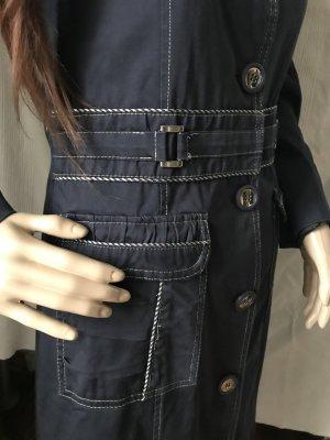 Geklede jas donkerblauw-wit