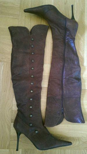 Cuissarde bordeau-brun cuir