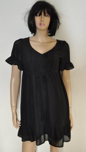 Babydoll-jurk zwart Gemengd weefsel