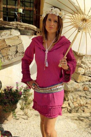 traumhaftes Kapuzen Boho Hippie coachella Kleid aus ibiza
