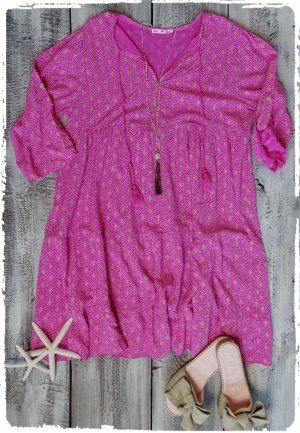 Vestido Hippie color oro-rosa