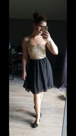 Traumhaftes Pailettenkleid von Vila edel Gr S Abendkleid bandeau Abiballkleid Hochzeit Kleid festlich