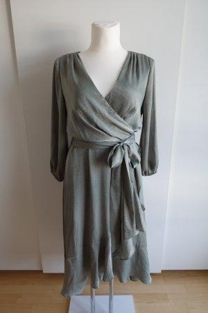 Vestido cruzado verde grisáceo Poliéster