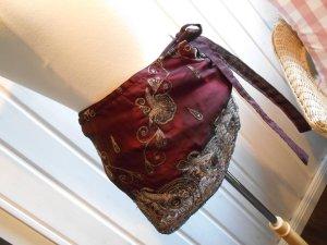 Traumteilchen Cacheur Hüftschmeichler Miniwickelrock aus Indien, prachtvoll bestickt Bordeux NEU