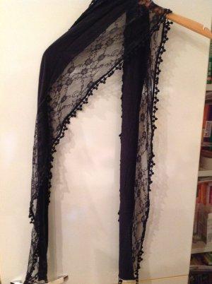 Tredy, dünner Schal mit Spitze in schwarz