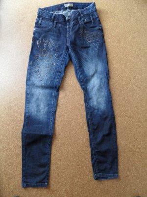 Tredy Jeans, blau, mit Glitzermotiv, Größe 42
