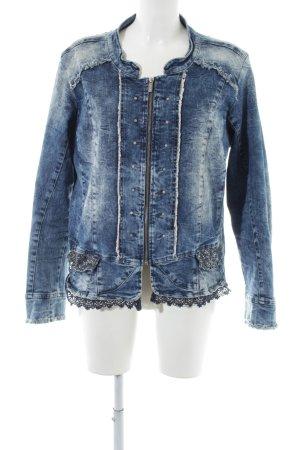 Tredy Jeansjacke blau-silberfarben Jeans-Optik