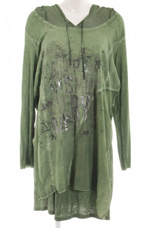 Tredy Hooded Dress forest green-khaki color gradient casual look