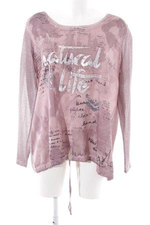 Tredy Langarm-Bluse pink Motivdruck Casual-Look