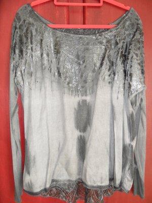 Tredy Langarmshirt, grau / silber, Größe 40