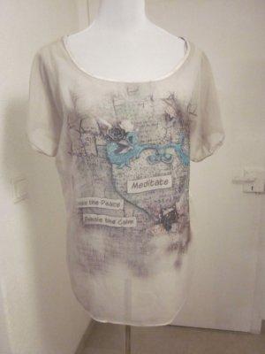 Tredy Shirt Spitze und Druck Gr L grau weiss