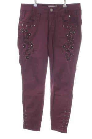 Tredy Skinny Jeans lila Glitzer-Optik