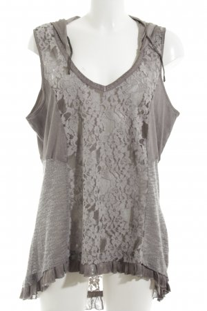 Tredy Lace Top light grey casual look