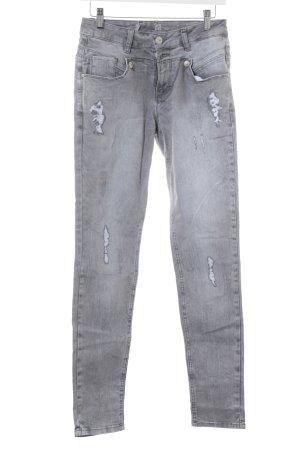 Tredy Straight-Leg Jeans hellgrau Destroy-Optik