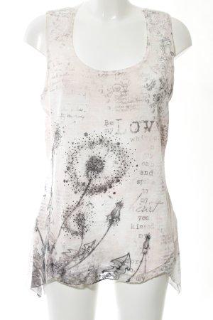 Tredy Haut tricotés blanc cassé-noir motif abstrait style décontracté