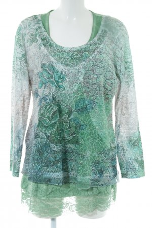Tredy Woven Twin Set green-turquoise flower pattern casual look