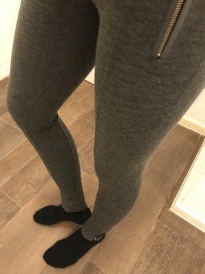 Treggings Leggings Stretch grau Reißverschluss an den Seiten unten mit Taschen