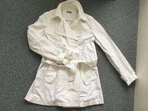 Benetton Gabardina blanco tejido mezclado