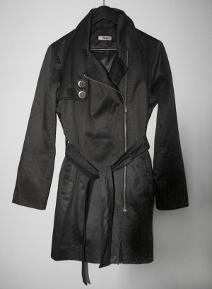 24 Hours Trench Coat black cotton
