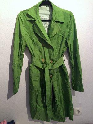Trenchcoat grün neon froschgrün Mantel Regenmantel dünn