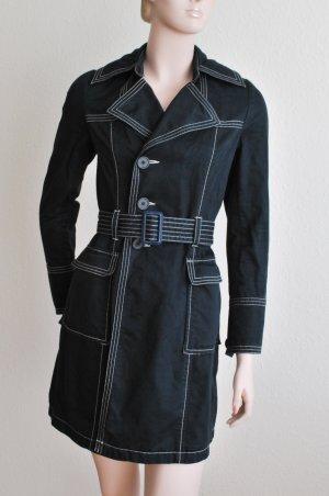 Trenchcoat-Jacke, schwarz mit weißen Ziernähten und Gürtel von Clockhouse