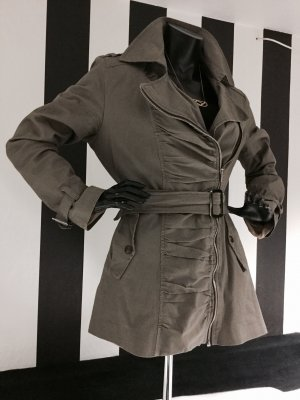 Trenchcoat Kakhi mit Raffung im Military Look