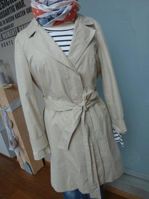 Trenchcoat Kurzmantel Zara Gr. M 38 creme sand beige mit Gürtel Baumwolle