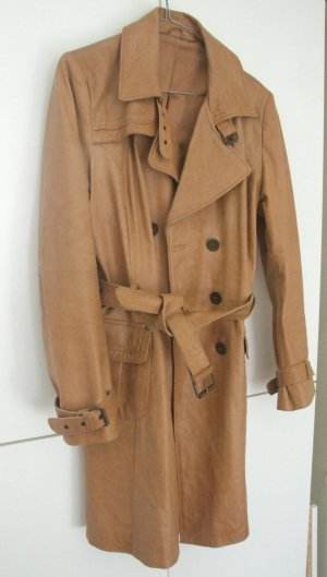 Trenchcoat Ledermantel Cognac Gr. 40 - 42