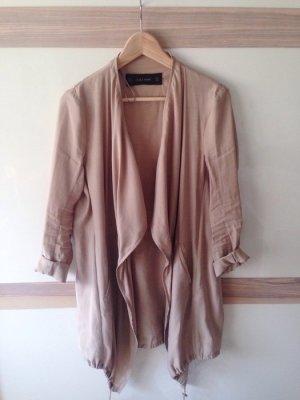 Trenchcoat Mantel beige hellbraun Wasserfallkragen Zara