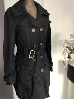Trenchcoat Mantel Gehrock Gr 36 S schwarz
