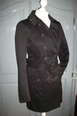 Trenchcoat Mantel schwarz Gr.S/36 Kragen mit Nieten Neuwertig